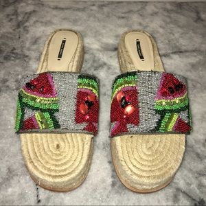 ZARA Beaded Watermelon Espadrille Sandals Size 40